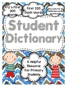 This unique resource will help your students to independently use conventional spelling in their writing.  This dictionary contains one page for each letter of the alphabet, as well as 2 additional pages and a cover page.  It includes the first 300 Fry words and the first 220 Dolch words as well as ten blank lines on each page for students to add words that have been introduced in class.