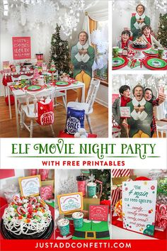 Let's sing loud for all to hear…it's an Elf Movie Night Christmas Party! This party is a tribute to my all-time favorite Christmas movie, Elf. I have watched Elf on repeat every December for as long as I can remember. Now I watch it with my boys and they love it too! This party is full of free printables and two fun DIY projects. I hope it inspires you to create an Elf Movie Night this holiday season! #justaddconfetti #buddytheelf #elfmovie #elfthemovie #christmasparty #movienight #freeprintable
