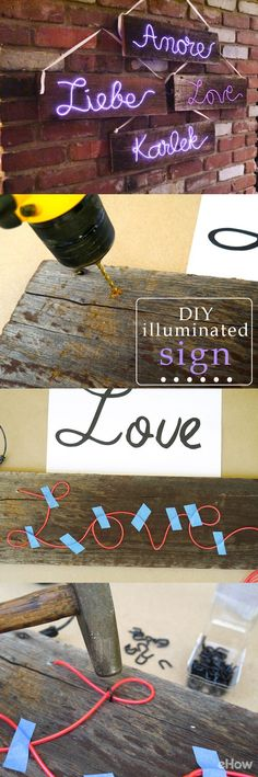 """Love these illuminated signs! With the help of electroluminescent wire, or """"EL wire,"""" making your own lighted sign is simple! All you do is bend the wire into any shape, or in this case, the languages of love. The softness of the font and reclaimed wood make these lighted signs ideal for rustic weddings, but they would be equally lovely for baby showers, anniversary parties, Valentine's Day or everyday home decor. Get the how-to here…"""