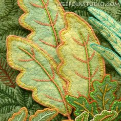 Leaves by Sally Mavor of Wee Folk Studio Embroidery Leaf, Free Motion Embroidery, Abstract Embroidery, Creative Embroidery, Wool Applique Patterns, Felt Applique, Textile Sculpture, Textile Art, Decorative Leaves