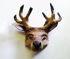 Reindeer Mask, wearable, reindeer, deer, Christmas, Santa, paper mache by ArtisanMasks on Etsy