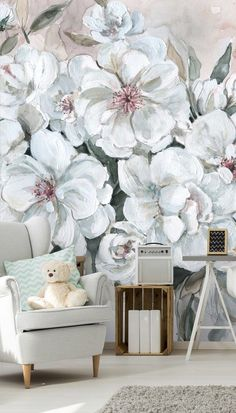 Create a feature wall with these beautiful floral wallpaper murals by Carol Robinson. FREE UK delivery within 2 to 4 working days. Wallpaper Murals, Wall Murals, Blush Bouquet, Flower Making, Designer Wallpaper, Free Delivery, Beautiful Homes, Contemporary, Group