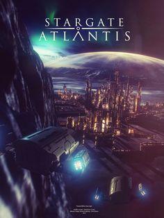 Remake of and older piece of work. Continuing the theme of Atlantis at night. Scene based on Atlantis opening scene. Several Million Years Ago Stargate Movie, Art Science Fiction, Stargate Universe, Transformers 4, Babylon 5, Kino Film, Sci Fi Series, Star Trek Ships, Stargate Atlantis