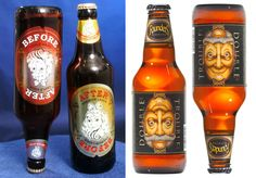 Garrafas de cerveja com rótulos reversíveis