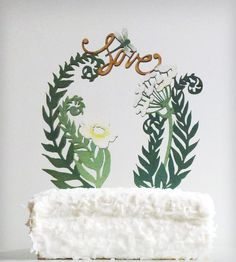 Flowers, Ferns & Love Cake Topper   Collections Showers and Celebrations   By Madeline Trait   Scoutmob Shoppe   Product Detail