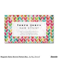 Shop Magnetic Aztec Arrows Pattern Business Card created by Pip_Gerard. Personalize it with photos & text or purchase as is!