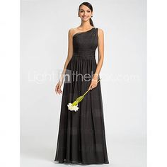[USD $ 129.99] Sheath/Column One Shoulder Floor-length Chiffon Bridesmaids Dress With Beading(612441)