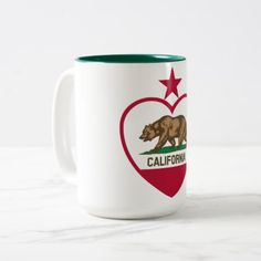 California Bear Flag Two-Tone Coffee Mug - #customizable create your own personalize diy