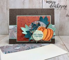 Gather Together Harvest Hellos by Stamps-n-lingers - Cards and Paper Crafts at Splitcoaststampers Thanksgiving Projects, Thanksgiving Cards, Halloween Cards, Fall Halloween, Stamp Up, Hello Photo, Fall Cards, Autumn Theme, Paper Pumpkin