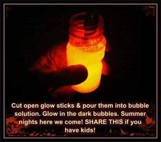 Put glow sticks into bubble solution for a nighttime fun activity. Put glow sticks into bubble solution for a nighttime fun activity. Summer Crafts, Fun Crafts, Crafts For Kids, Kids Diy, Family Crafts, Crafty Kids, Crafty Craft, Preschool Crafts, Simple Life Hacks