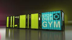 Next Container // Stopover GYM on Behance - Carola Container Buildings, Container Architecture, Architecture Design, Container Shop, Container Design, Home Gym Design, New Home Designs, Tiny House Village, Gym Interior