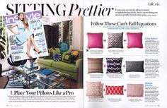 January 2013 InStyle #prettyinpink #sittingprettier Lacefield Designs Orchid Linen Pillows with Jute Fringe