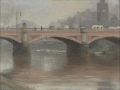 Princes Bridge is viewed from the south bank across the Yarra River in this painting, with traffic and pedestrians on the bridge, boats moored beyond it, a. Australian Painters, Australian Artists, Bridge Painting, Artist Painting, Landscape Paintings, Landscapes, Art Google, Prince, Culture