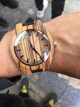 619c3dff8f89 Tienda Online Reloj de los hombres reloj de madera análogo minimalista  bambú naturaleza cebra cuarzo reloj
