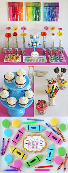 Tons of great party ideas!  Rainbow Art Birthday Party - by Glorious Treats