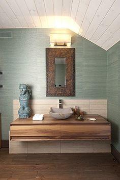 Salle de barin de Marie-Christine Lavoie Deco Design, Vip, Sweet Home, Vanity, Turquoise, Bathroom, Halloween, Vintage, Style