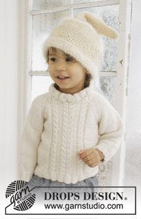 """Set consists of: Knitted DROPS jumper with raglan in 2 threads """"Alpaca"""" and crochet DROPS hat in """"Alpaca"""" and """"Vienna"""" ~ DROPS Design"""