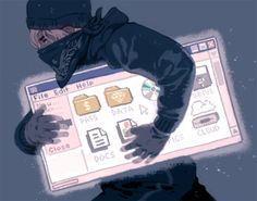 'Cyber Security' for the MIT Technology ReviewFor an article about cyber security. I had a burglar stealing a computer window filled with all the new things we're afraid of people stealing in this age. My aesthetic: Windows 95Thanks to AD Jordan Awan!