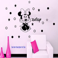 Disney Minnie Mouse Personalised polka dot Girls Vinyl WallArt Sticker Decal D1