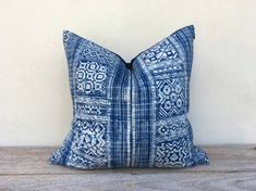 "Vintage Ethnic Hmong Cotton Hand block print Pillow Case 18"" x 18"" Hmong pillow case, Rustic pillow case, blue pilow cover"