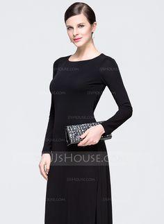 A-Line/Princess Scoop Neck Floor-Length Ruffle Zipper Up Sleeves Long Sleeves No Black Spring Summer General Plus Chiffon Evening Dress