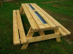 Picnic table with built in cooler from the kreg owners community gutter picnic table beer gutter picnic table picnic tables for sale in houston metro watchthetrailerfo