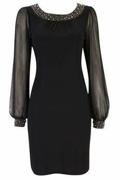 Black dress with long see through sleeves