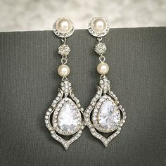 TORILYN, Wedding Earrings, Bridal Earrings, Vintage Style Pearl and Crystal Rhinestone Dangle Earrings, Teardrop Earrings, Bridal Jewelry