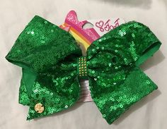 Jojo Siwa Green Sequins Bling Glamour Big Hair Bow Cheer Dance Pageant Irish  | eBay
