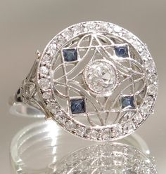 Vintage French Diamond & Sapphire Platinum Ring Art Deco