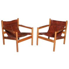 """Pair of Danish Modern """"Safari Chairs"""", Arne Norell 