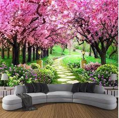 Custom Photo Wallpaper Flower Romantic Cherry Blossom Tree Small Road Wall Mural Wallpapers For Living Room Bedroom De Parede wallpapers for living room photo wallpaper mural wallpaper AliExpress