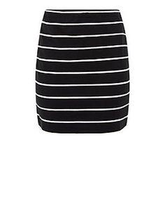 Black Stripe Tube Skirt  | New Look