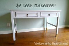 Wowza desk makeover! Click through to see the before pic.  I love the gold dipped feet.