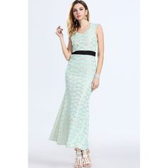 Light Green Crochet Lace Zipper Back Mermaid Dress (£19) ❤ liked on Polyvore featuring dresses, no sleeve dress, zipper back dress, night out dresses, crochet lace dress and round neck sleeveless dress