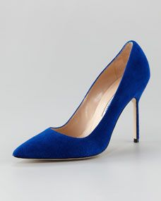 BB Suede Pointed-Toe Pump in Saphire Blue