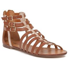Women's Strappy Gladiator Sandal in Gold/Brown by Daytrip. featuring polyvore, women's fashion, shoes, sandals, gold strappy shoes, strappy shoes, gold shoes, brown sandals and gold gladiator sandals