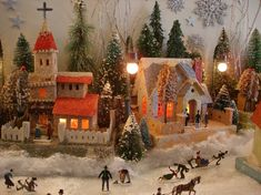 Sweet little Christmas village. Christmas Village Display, Christmas Town, Christmas Villages, Noel Christmas, Little Christmas, Christmas Decorations, Country Christmas, Outdoor Christmas, Miniature Christmas
