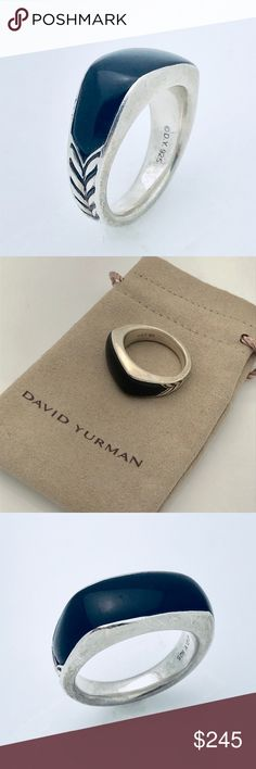 David Yurman Men's Silver Ring with Black Onyx 100% Authentic Pre-Owned Fast and Safe Shipping  Trusted Seller I Accept Offers! Professionally Polished to Look New Comes with Pouch 925 Sterling Silver Black Onyx David Yurman Jewelry Rings