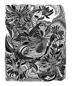 """G. W. Lennox Paterson. Wrens In Honeysuckle. From """"English Wood Engraving 1900-1950"""" by Thomas Balston, Art and Technics Ltd, 1951."""