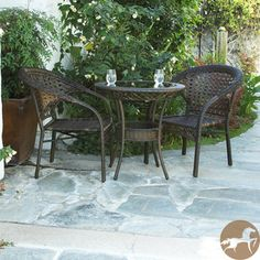 Christopher Knight Home Outdoor Wicker 3-piece Bistro Set | Overstock.com Shopping - Big Discounts on Christopher Knight Home Bistro Sets