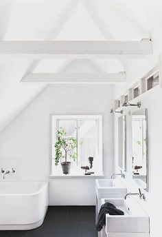 all-white-bathroom number with white beams and black floor