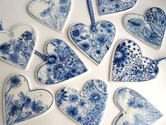 Hand painted porcelain  heart -  Dutch blue and white  Delft Wall hanging/ornament. $39.00, via Etsy.