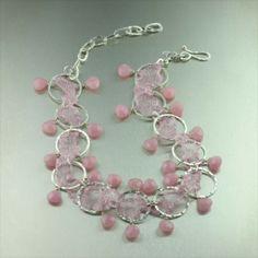 Pink Italian Mesh Metal Ribbon Necklace