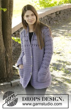 """Crochet DROPS jacket with broomstick lace in """"Nepal"""". Size: S - XXXL. ~ DROPS Design.  Free Pattern!"""