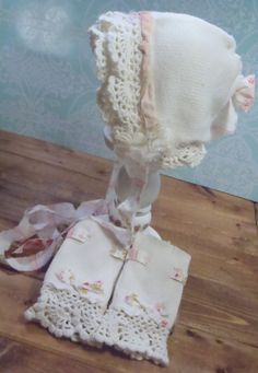 Upcycled newborn hat and legwarmers baby photo props newborn baby girl ivory vintage inspired baby photography props