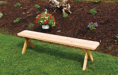 Outdoor 2 Foot Cross Leg Pine Picnic BENCH ONLY *Unfinished * Amish Made USA - http://rustic-touch.com/outdoor-2-foot-cross-leg-pine-picnic-bench-only-unfinished-amish-made-usa/