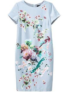 schmal geschnittenes Kleid mit Blumenmuster, blau 19.32