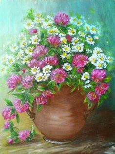 Bukiet z koniczyną - olej - Maria Roszkowska