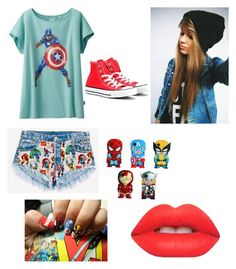 """""""Marvel!!!"""" by duhitsshea ❤ liked on Polyvore featuring Uniqlo, Runwaydreamz, Converse, Marvel Comics and Lime Crime"""